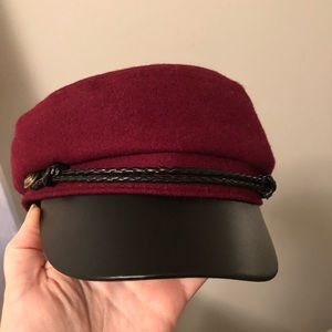 NWT Faux Leather Trim Cabbie Hat